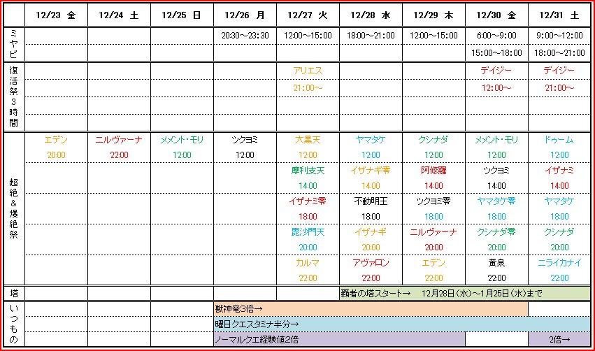 モンスト2016~2017年末年始の予定表